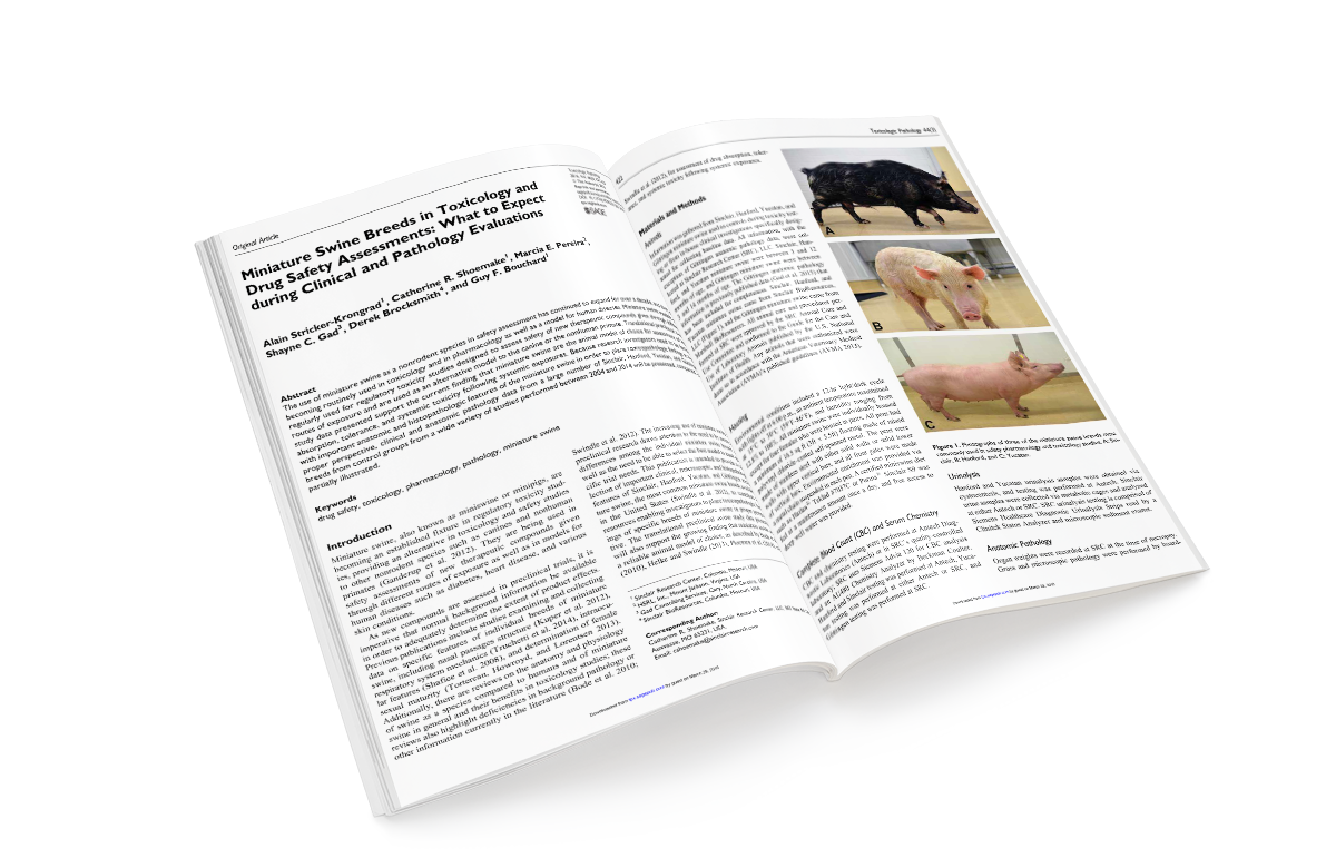 Miniature Swine Breeds in Toxicology and Drug Safety Assessments: What to Expect during Clinical and Pathology Evaluations