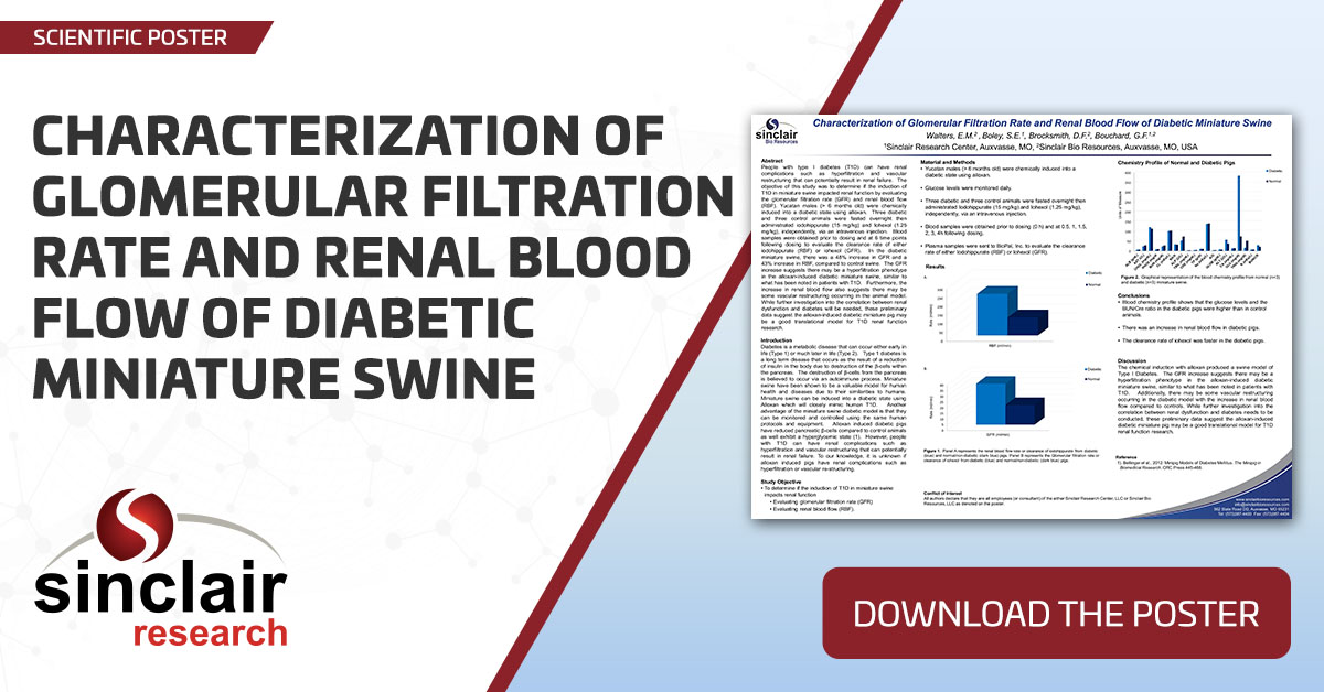 Characterization of Glomerular Filtration Rate and Renal Blood Flow of Diabetic Miniature Swine - SciPos148