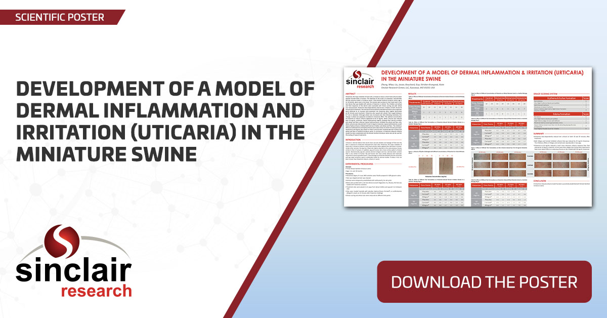 Development of a Model of Dermal Inflammation and Irritation (Urticaria) in the Miniature Swine - SciPos140